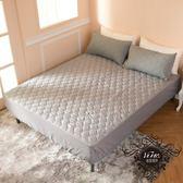 雙人加大6尺側邊加高35cm床包式防潑水保潔墊+2枕套  3M技術 【灰色】 保護床墊 抗污 好清洗