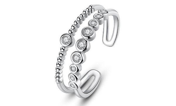 【現貨】雙排圓型可調整戒指 可調式 個性 禮物 情人節 中指 無名指 大拇指 單品 基本款 韓國單品