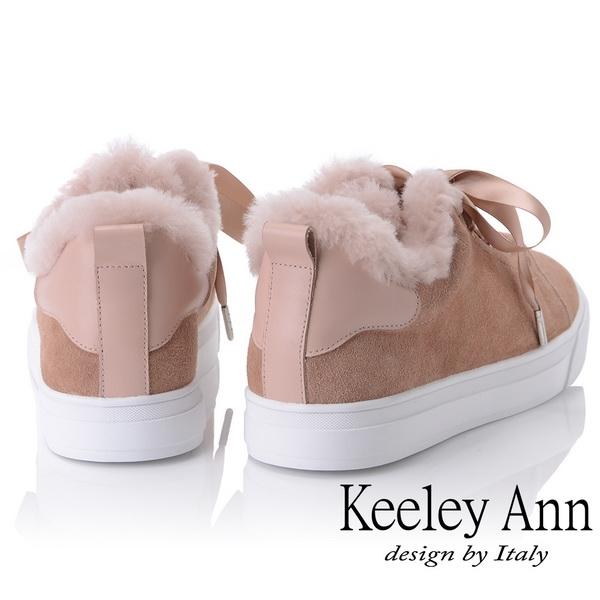 2018秋冬_Keeley Ann暖心冬季~暖暖毛茸鞋緣緞帶蝴蝶結休閒鞋(粉紅色) -Ann系列