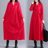 民族風長袖連衣裙秋冬女新款寬鬆長款腰帶復古顯瘦棉麻裙子洋裝