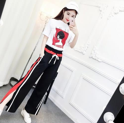 克妹Ke-Mei【AT51947】歐美辛辣龐克女人字母T恤+字母單槓開叉運動褲套裝