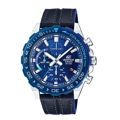 CASIO手錶專賣店 EFR-566BL-2A EDIFICE 時尚三眼男錶 皮革錶帶 藏青藍 日期顯示 防水100米