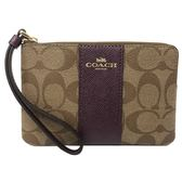 【COACH】經典C LOGO直紋PVC皮革手拿包零錢包(魅惑紫)