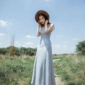 夏新款巴厘島性感系帶V領露背開叉吊帶裙禮服長裙大擺連身裙