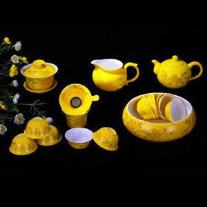 高檔婚慶黃牡丹 茶壺茶洗
