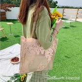 托特包 仙女包包女新款韓國蕾絲手提購物袋復古夏天刺繡單肩包 雙十二特惠
