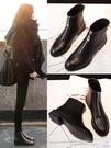 短靴 英倫風平底短筒靴子小跟短靴女2020秋冬新款粗跟低跟前拉鏈馬丁靴 小宅女