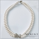 [L035-S]雙層珍珠蝴蝶結短項鍊~美之札