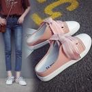一腳蹬懶人鞋 帆布鞋女學生韓版百搭小白鞋無後跟懶人鞋半拖鞋女平底一腳蹬布鞋 交換禮物