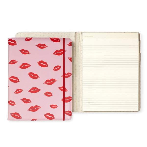 kate spade 唇唇欲動紅印皮革筆記本 Notepad Folio,Lips