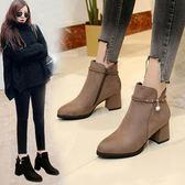 靴子 短筒馬丁靴女短靴高跟粗跟尖頭百搭加絨刷毛踝靴及裸靴 酷我衣櫥