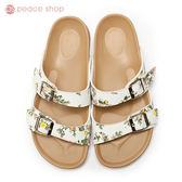 拖鞋-peace衣著館-MIT手工鞋-夏日必備雙帶拖鞋,白花