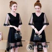 大尺碼洋裝 小黑裙新款女裝網紗拼接顯瘦遮肚連身裙女 轉角1號