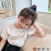 兒童T恤透氣繡花娃娃領可愛時尚女童女寶寶短袖夏季【淘夢屋】