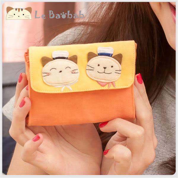 零錢包~Le Baobab日系貓咪包 啵啵貓水手造型馬卡龍色卡片零錢包/拼布包包