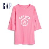 Gap女嬰幼童 Logo圓領五分袖洋裝 492710-撞色條紋