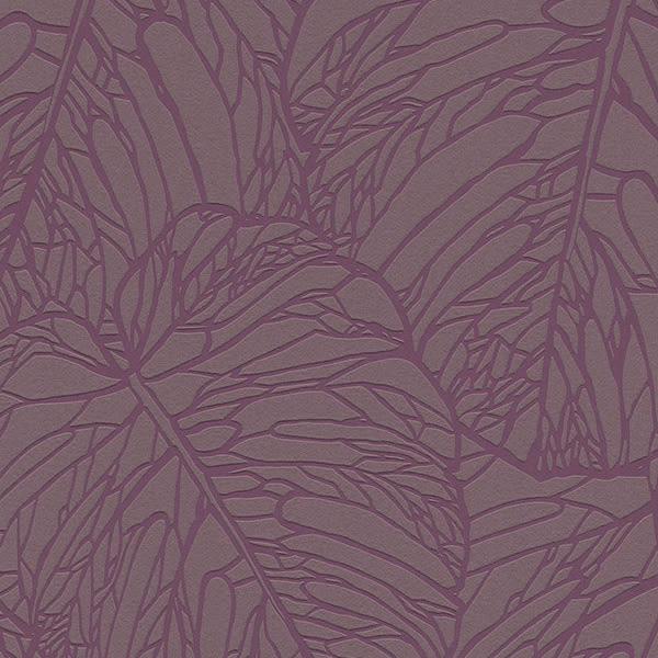 進口牆紙 rasch2018 朗飾53cm×10m/1卷 北歐風壁紙 紫色 樹葉 葉脈 牆紙 Nordics 609363