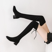 過膝長靴女秋冬顯瘦彈力靴粗跟高跟長筒靴女網紅瘦瘦靴子 交換禮物