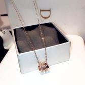 簡約韓版時尚玫瑰金項鍊女吊墜百搭短款鈦鋼裝飾鎖骨鍊飾品網紅