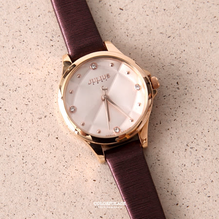 手錶 正韓Julius菱格紋皮革腕錶 柒彩年代【NEK7】