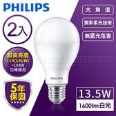 飛利浦PHILIPS 13.5W LED 燈泡 舒視光護眼 白/黃光2入