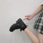 短靴 短靴女單靴英倫風靴子女夏季薄款春秋厚底增高機車馬丁靴ins 芊墨左岸