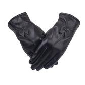 真皮手套-羊皮保暖蝴蝶結優雅黑色女手套73wf11【巴黎精品】