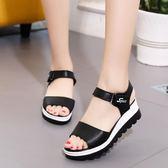 楔型鞋 夏季高跟涼鞋女學生韓版粗跟厚底鬆糕平底學生坡跟魚嘴女鞋子 【韓國時尚週】