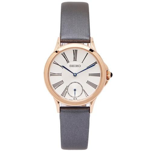 SEIKO 唯美小秒針盤女性手錶(SRKZ54P1)-銀白面X銀灰色/32mm
