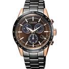 附小牛皮錶帶 CITIZEN 星辰 限量光動能萬年曆計時錶-咖啡x黑/40mm BL5496-53E