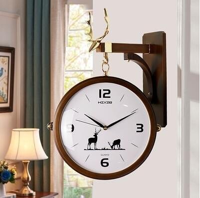雙面掛鐘歐式創意表客廳靜音鹿頭時鐘錶兩面個性時尚現代簡約掛錶