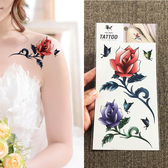 新款性感玫瑰花紅紫色 彩色蝴蝶花朵 防水持久女款逼真紋身貼遮疤