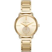 【台南 時代鐘錶 Michael Kors】MK3639 典雅大方璀璨晶鑽時尚腕錶 金 36mm