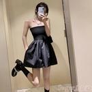 連體褲 連體褲女2021夏季新款高腰寬鬆抹胸連衣短褲女士氣質顯瘦工裝裙褲