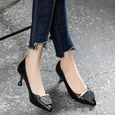 2021年春夏季新款高跟鞋女中跟單鞋軟皮小跟淺口真皮尖頭細跟皮鞋 蘿莉新品
