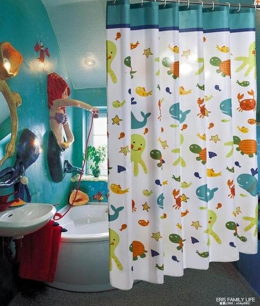加厚防水防霉卡通拉簾套裝免打孔衛生間浴簾布隔斷門簾子浴室掛簾 艾瑞斯
