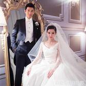 BABY頭紗新娘韓式頭紗頭飾超仙雙層超長拖尾婚紗頭紗簡約裸紗旅拍  居家物語
