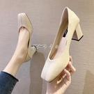 粗跟高跟鞋女新款時尚百搭網紅簡約ins方...