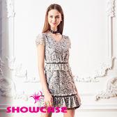 【SHOWCASE】V領玫瑰雙層蕾絲修身洋裝(黑)