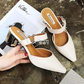 涼鞋女夏新款高跟涼拖鞋韓版百搭粗跟女尖頭淺口包頭半拖鞋子 俏腳丫