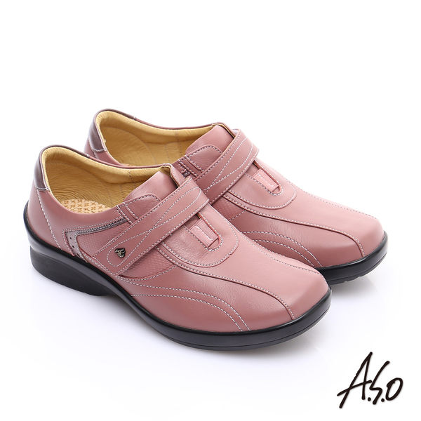 A.S.O 3E寬楦 全真皮金箔流線型魔鬼氈休閒鞋 粉紅