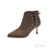 馬丁靴女英倫風2019秋冬新款時尚尖頭百搭短靴子細跟高跟加絨女靴 XN7925『黑色妹妹』