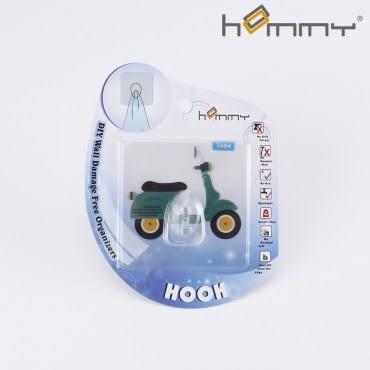 HOMMY黏貼式掛勾-綠色機車(單入)