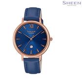 SHEEN 輕薄設計 簡潔俐落 獨立日期顯示窗 CASIO卡西歐 玫瑰金 藍色 女錶 SHE-4534PGL-2A