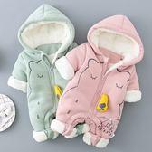 包屁衣嬰幼兒連身冬裝厚款護手兔裝嬰兒衣服冬季加絨新生兒加厚保暖外出爬服  七夕情人節