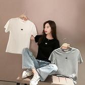 VK精品服飾 爆款韓國風時尚刺繡皇冠INS休閒短袖上衣