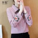 (促銷全場九折)秋季新款蝴蝶結系帶條紋刺繡襯衫女韓版時尚襯衣小衫淑女上衣