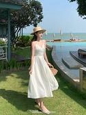 法式復古緞面性感超仙白色吊帶連身裙海邊度假風露背沙灘長裙女夏 阿卡娜
