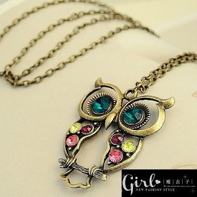 【Q60A15】魔衣子-複古彩鑽鏤空雕花貓頭鷹項鏈