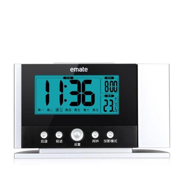 投影鬧鐘投影時鐘溫度計鬧鐘電子背光投射時鐘臥室床頭臺鐘 伊蒂斯女裝